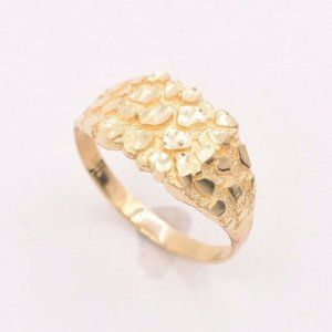 Mens Nugget Square Ring Real Solid 10K Yellow Gold